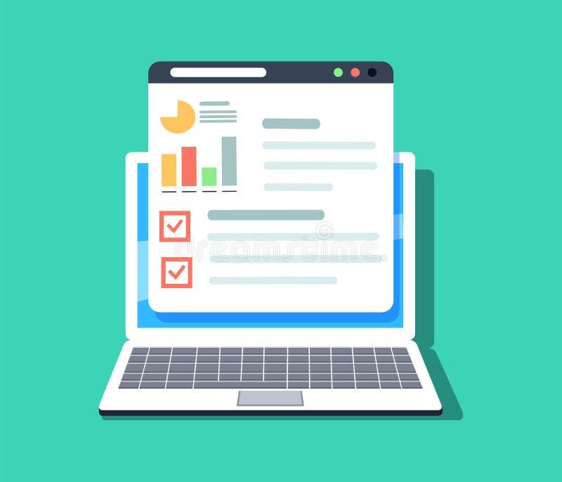 Flache Illustration der Netz- und Anwendungsoptimierung, der Programmierung und der Analytik lizenzfreie abbildung