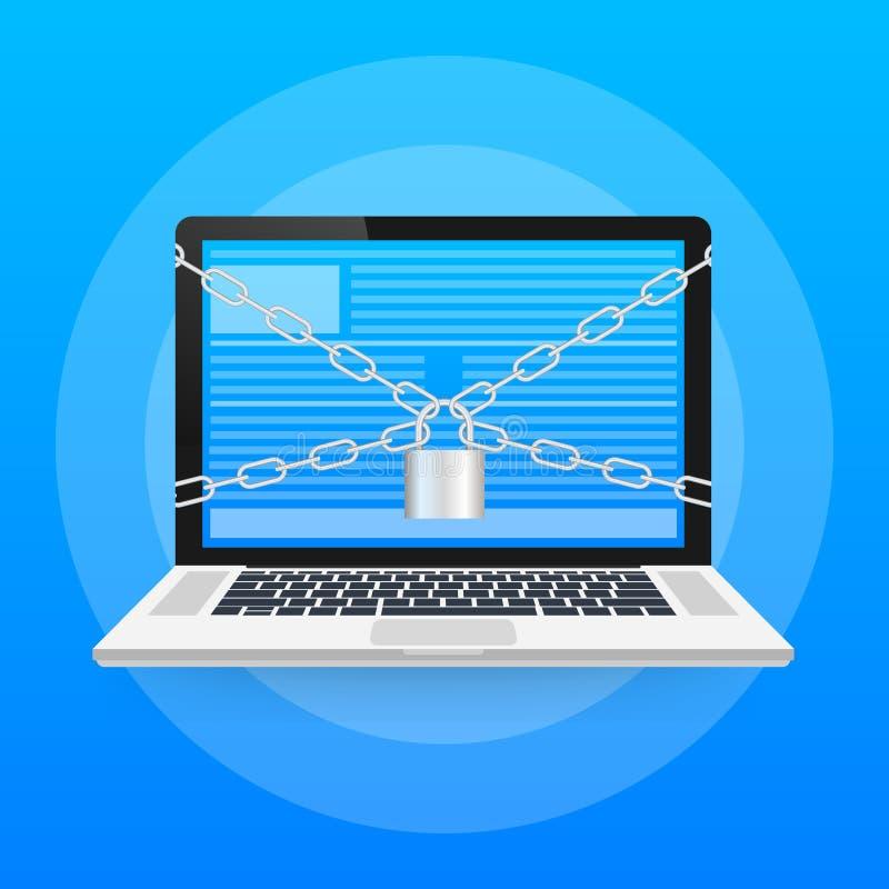 Flache Illustration der Sicherheitsmitte Verschluss mit Kette um Laptop Vektorauf lagerabbildung lizenzfreie abbildung