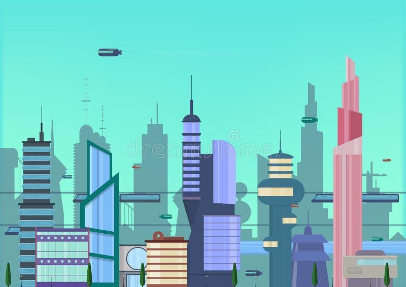 Flache Illustration der zukünftigen Stadt städtische Stadtbildschablone mit modernen Gebäuden und futuristischem Verkehr Fahne fü lizenzfreie abbildung