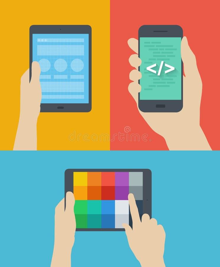 Flache Illustration des beweglichen Webdesigns vektor abbildung