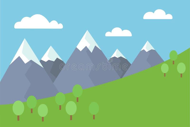 Flache Illustration des bunten Vektors der Karikatur von Berglandschaft mit Schnee bedeckte Spitzen mit Bäumen und Wiese unter bl lizenzfreie abbildung