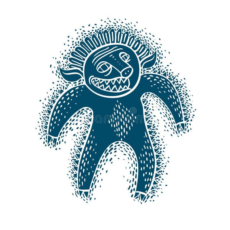 Flache Illustration des Charaktermonster-Vektors, blauer Mutant, Teufel stock abbildung