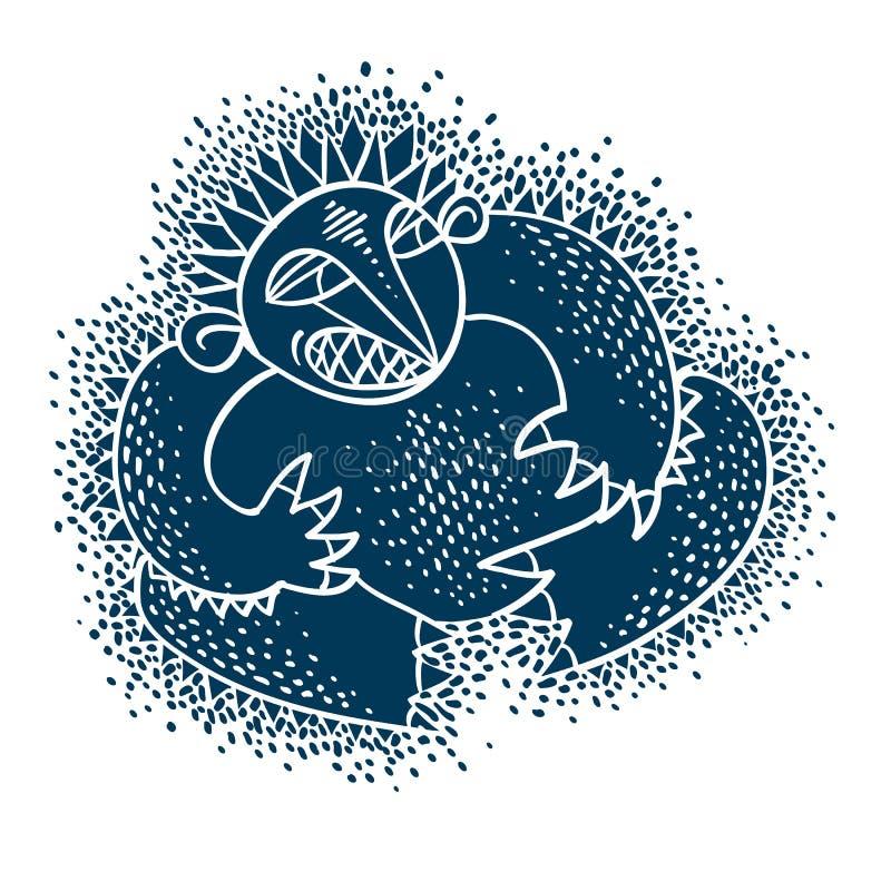 Flache Illustration des Charaktermonster-Vektors, netter blauer Mutant Dr. lizenzfreie abbildung