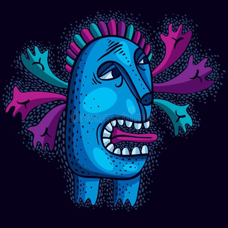 Flache Illustration des Charaktermonster-Vektors, netter blauer Mutant Dr. stock abbildung