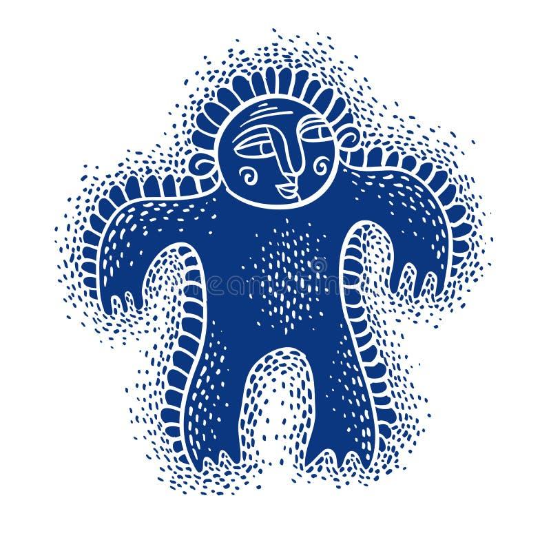 Flache Illustration des Charaktermonster-Vektors, netter blauer Mutant Dr. vektor abbildung