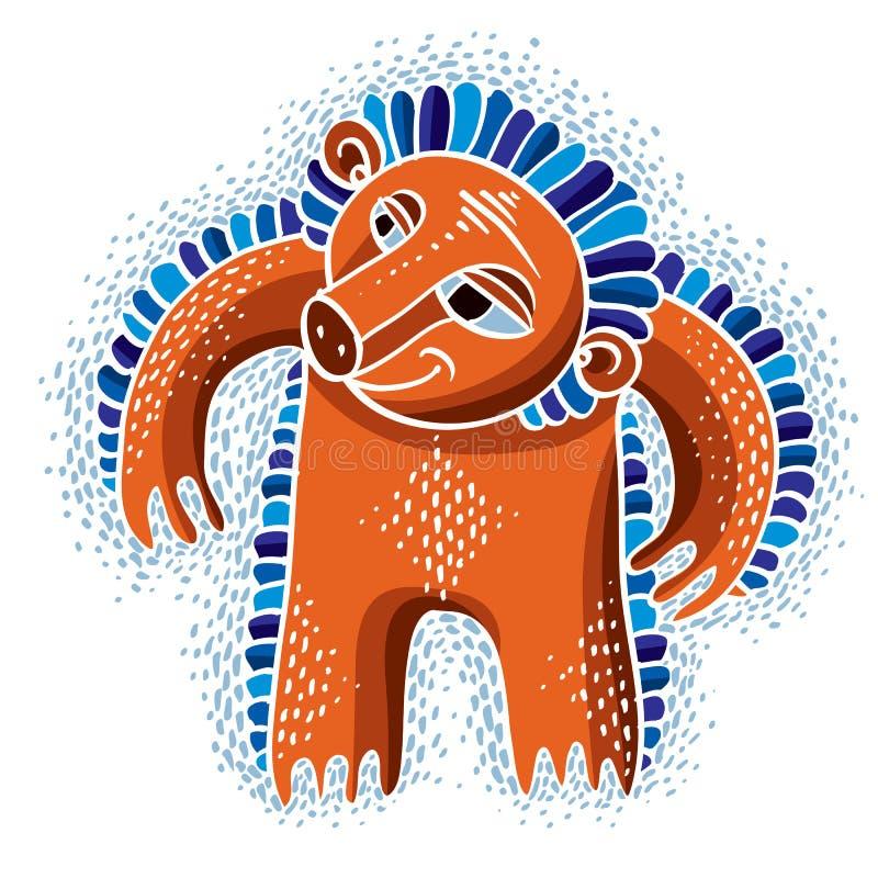Flache Illustration des Charaktermonster-Vektors, netter orange Mutant vektor abbildung