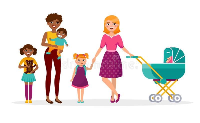 Flache Illustration des glücklichen Konzept-Vektors der Mutter s Tages Zwei Mütter mit Kindern gehen Kaukasier und Afrikaner stock abbildung