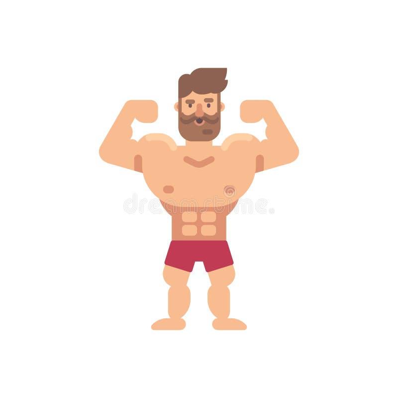 Flache Illustration des jungen muskulösen bärtigen Mannes Flache Ikone der Eignung vektor abbildung