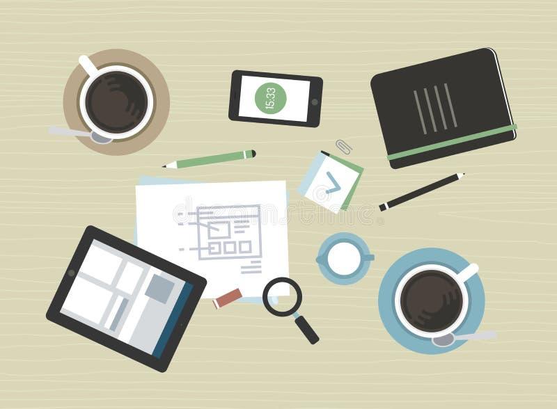 Flache Illustration des modernen Geschäftstreffens lizenzfreie abbildung