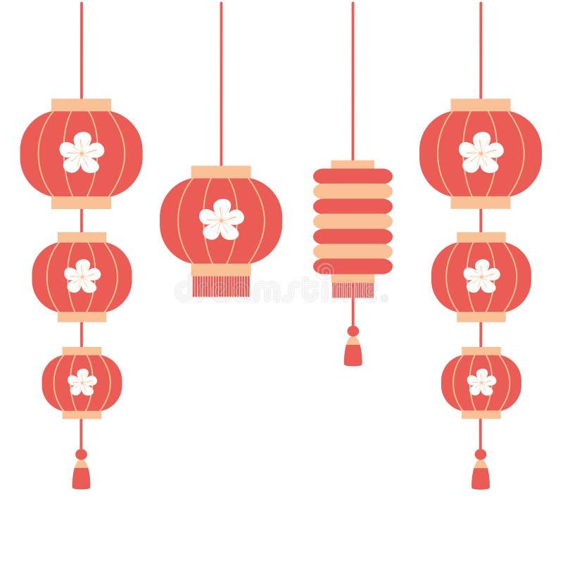 Flache Illustration des netten Laternensatz-Vektors der Karikatur chinesischen stock abbildung