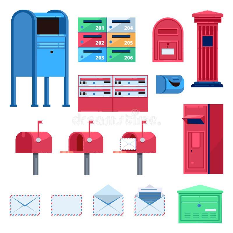Flache Illustration des Postenbriefkasten-Vektors Buchstaben und Postboxes lokalisierten Ikonen stock abbildung