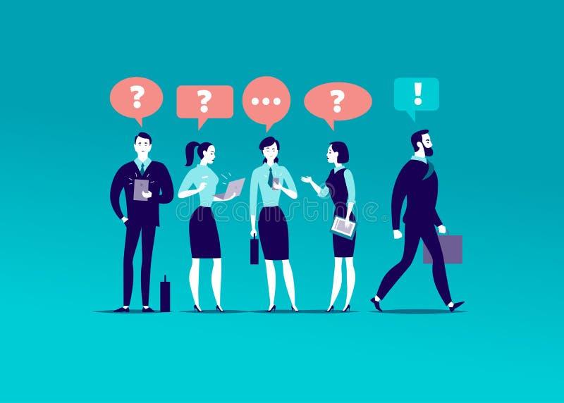 Flache Illustration des Vektors mit den Büroleuten, die zusammen stehen, suchend Antworten stock abbildung