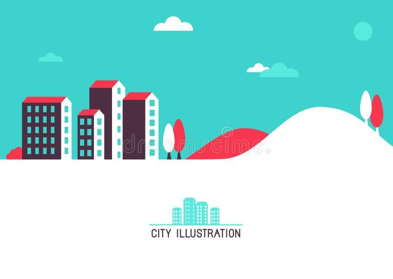 Flache Illustration des Vektors mit hellen Häusern vektor abbildung