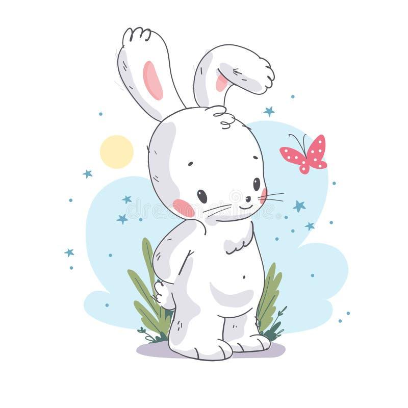 Flache Illustration des Vektors des netten kleinen weißen Babyhäschencharakters mit dem rosa Schmetterling lokalisiert lizenzfreie abbildung