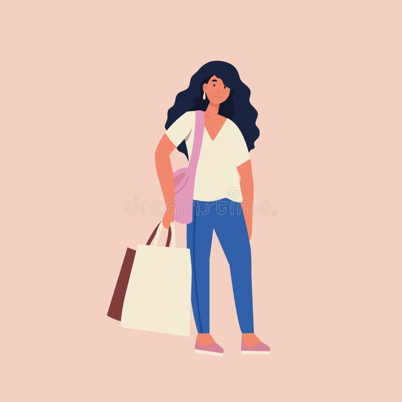 Flache Illustration des Vektors schöner Yong-Frau mit Einkaufstaschen Gro?er Verkaufs-Tag lizenzfreie abbildung