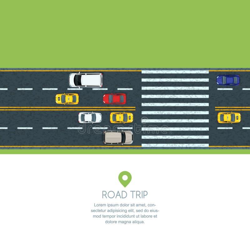 Flache Illustration des Vektors des Stadttransportes Landstraßenstraße, bewegliche Autos und Taxi Automobile auf dem Zebrastreife stock abbildung