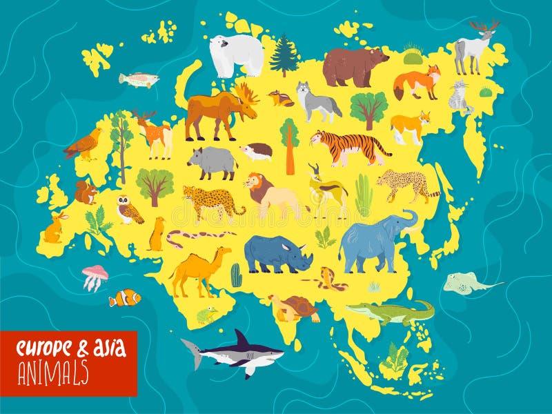Flache Illustration des Vektors von Europa- u. Asien-Kontinent, von Tieren u. von Anlagen: Eisbär, Elch, Eichhörnchen, Wolf, Elef stock abbildung