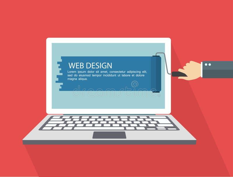 Flache Illustration des Webdesigns Hand mit Rollenmalereilaptop lizenzfreie abbildung