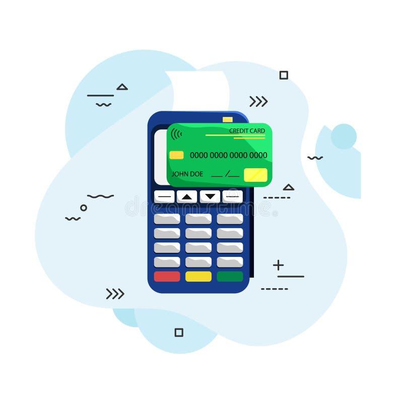 Flache Illustration des Zahlungsanschlusses und -Kreditkarte Positions-Anschluss Drahtlos, kontaktlos stock abbildung