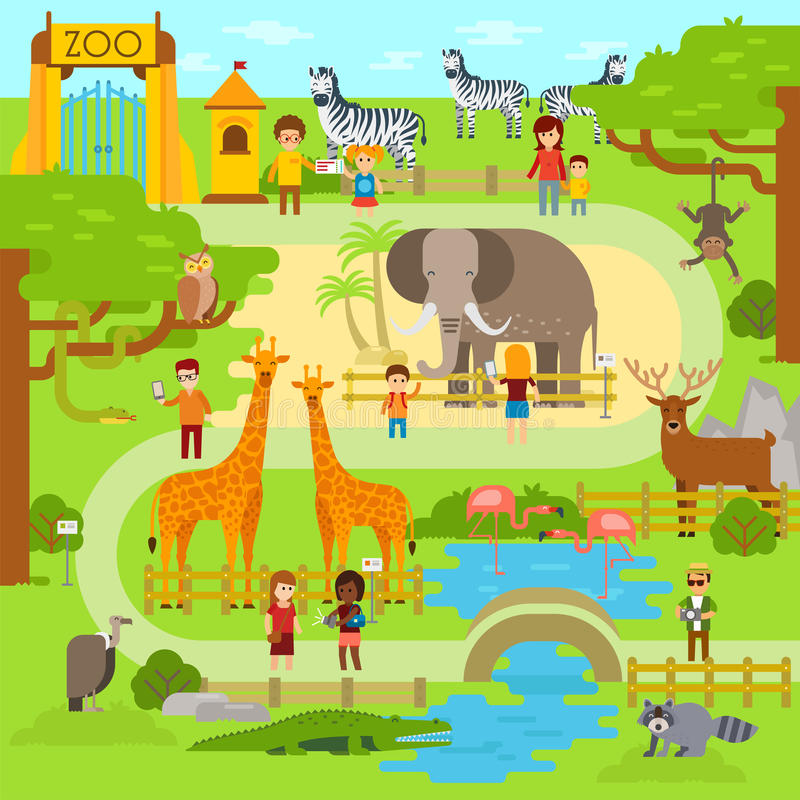 Flache Illustration des Zoovektors Tiere vector flaches Design Zoo infographic mit Elefanten Leuteweg im Park, Zoo stock abbildung