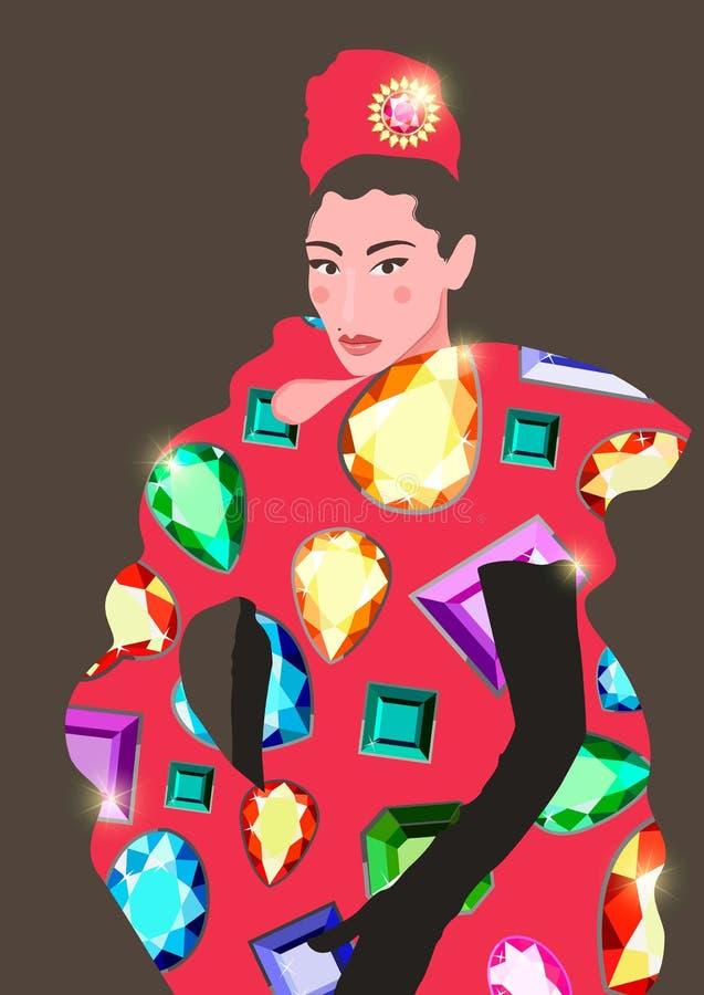 Flache Illustration eines modernen Mädchens in einem roten Kleid und in einem Turban lizenzfreie abbildung