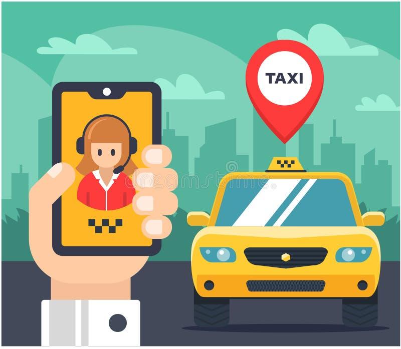 Flache Illustration eines Taxiauftrages Auto etikettiert vektor abbildung