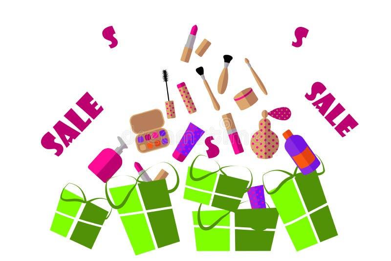 Flache Illustration Kosmetik: Lippenstift, Lidschatten, Wimperntusche, Creme und Geschenke auf einem weißen Hintergrund lizenzfreie abbildung