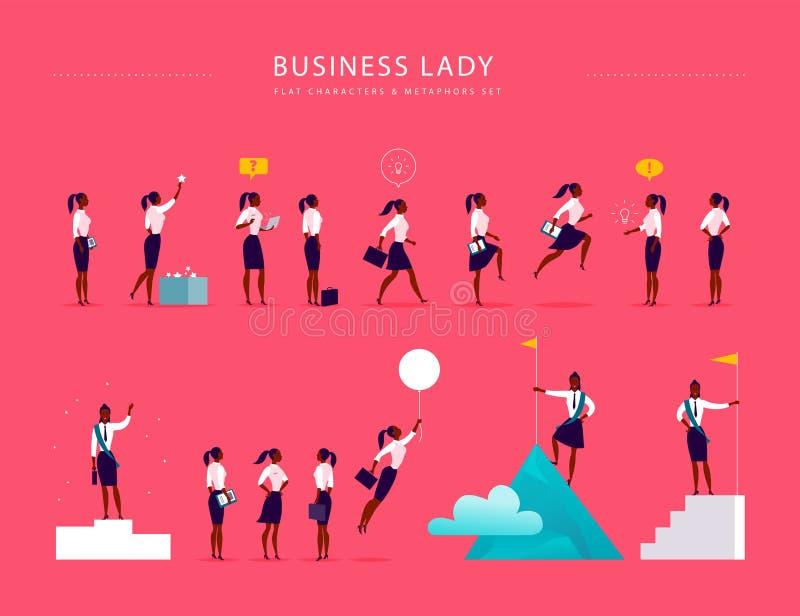 Flache Illustration mit den Geschäftsdamenbürocharakteren u. -metaphern lokalisiert auf rosa Hintergrund stock abbildung
