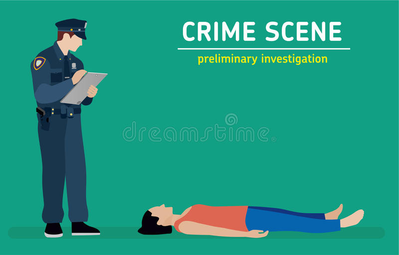 Flache Illustration Morduntersuchung stock abbildung