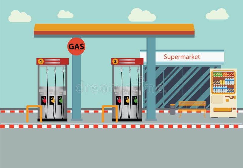 Flache Illustration Tankstelle Vektors lizenzfreie abbildung