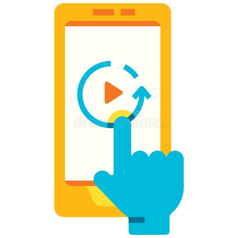 Flache Illustration Wiedergabe Smartphone stock abbildung