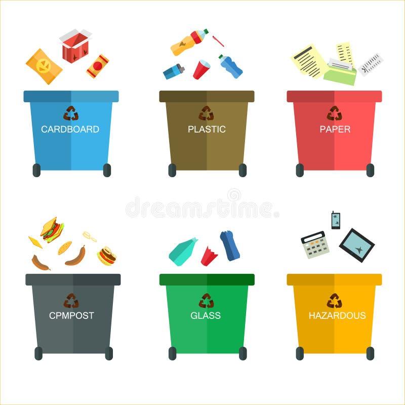 Flache Illustrationen der Mülleimer Viele mit sortiert sortieren Ökologie und bereiten Konzept auf Abfall auf weißem backg lizenzfreie abbildung