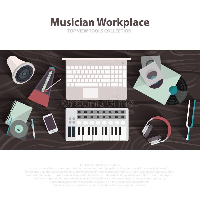 Flache Illustrationen des Musikerarbeitsplatz-Vektors Musikerarbeitskabinett mit Digital Equipment Solides Kunstkonzept vektor abbildung