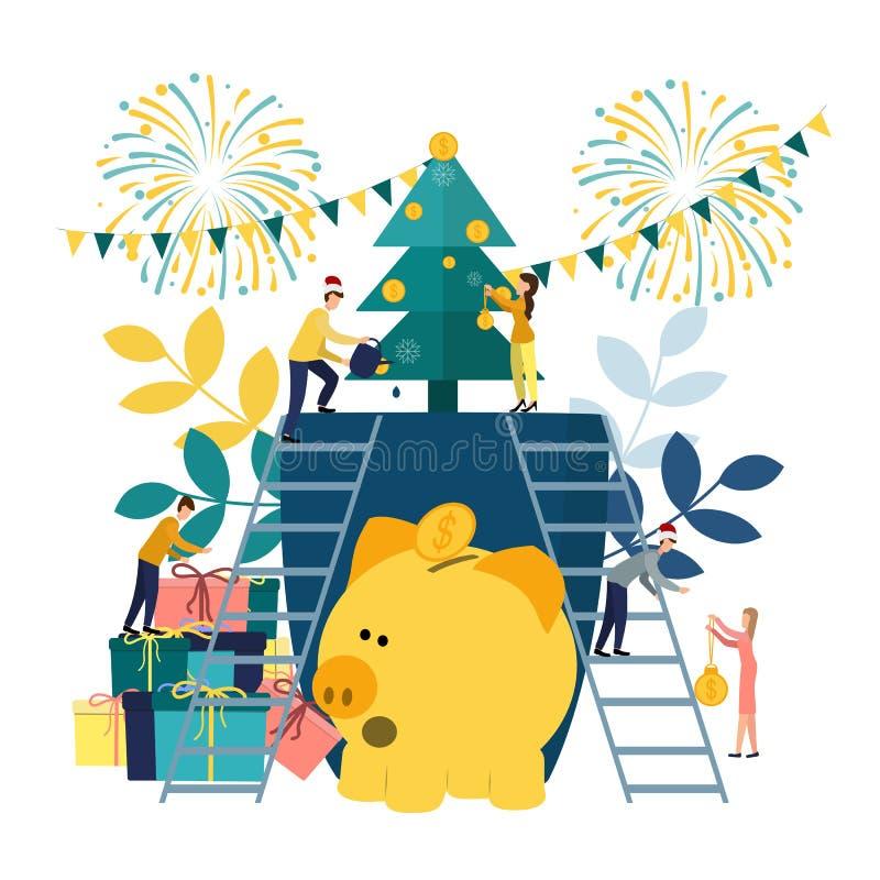Flache Illustrationen des Vektors, ein großes Sparschwein auf einem weißen Hintergrund, ein Weihnachtsbaum mit Geld, Geschäftsmän lizenzfreie abbildung