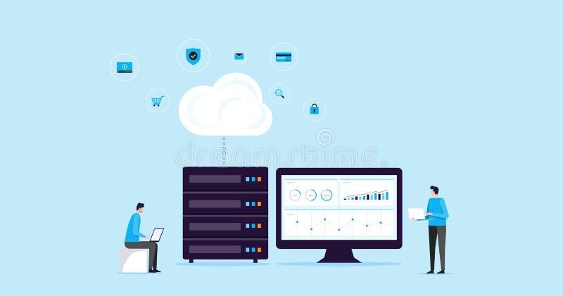 Flache IllustrationsKonzept- des Entwurfestechnologiewolkenspeicherverbindung mit Geschäftstechnologie Wen-Bewirtung und Server o vektor abbildung