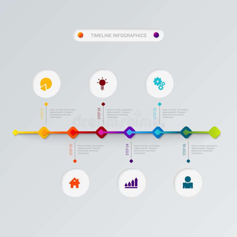 Flache infographic Schablone Zeitachsedes prozeßikonen-Vektors stock abbildung