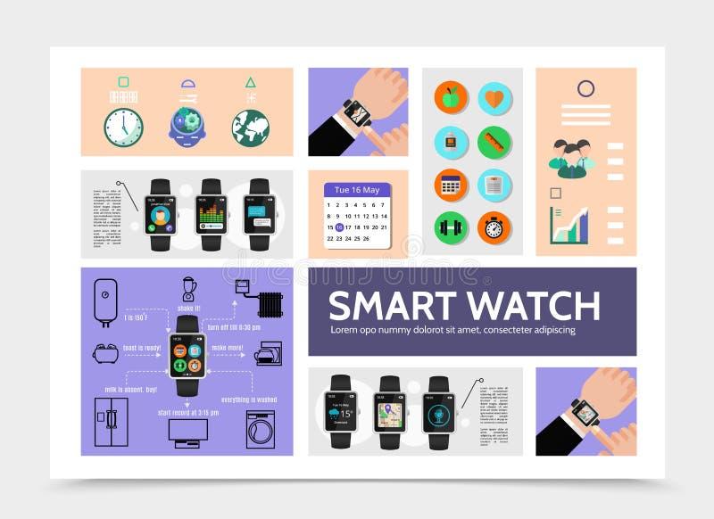 Flache intelligente Uhr moderne Infographic-Schablone vektor abbildung