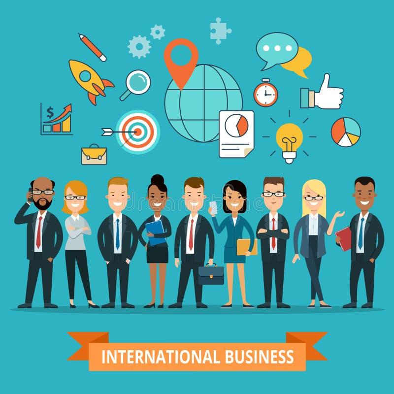 Flache internationale Geschäftsleute Ikonen infograph stock abbildung