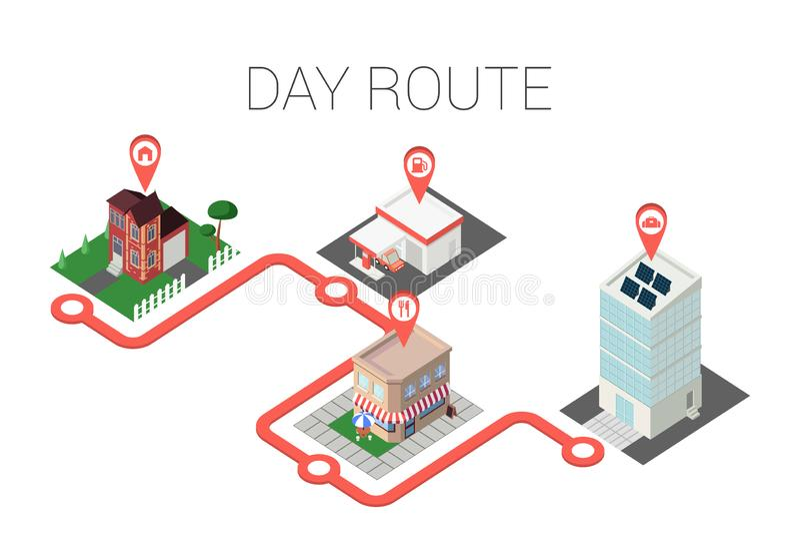 Flache isometrische Gebäude Geolocation markiert Intelligente Stadt infographics Schablonen-Vektorillustration isometry Konzept 3 vektor abbildung