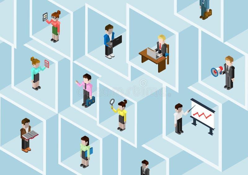 Flache isometrische Geschäftsleute Berufskonzept der verschiedenartigkeit 3d stock abbildung