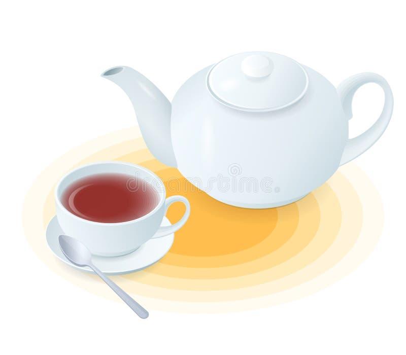 Flache isometrische Illustration der keramischen Tasse Tee und Teekanne lizenzfreie abbildung