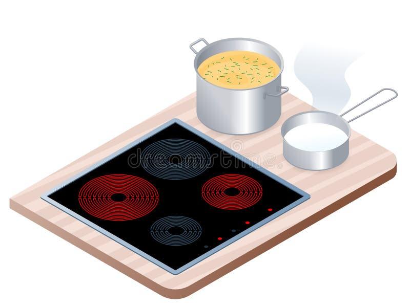 Flache isometrische Illustration des elektrischen Ofens der Küche mit Wanne, vektor abbildung