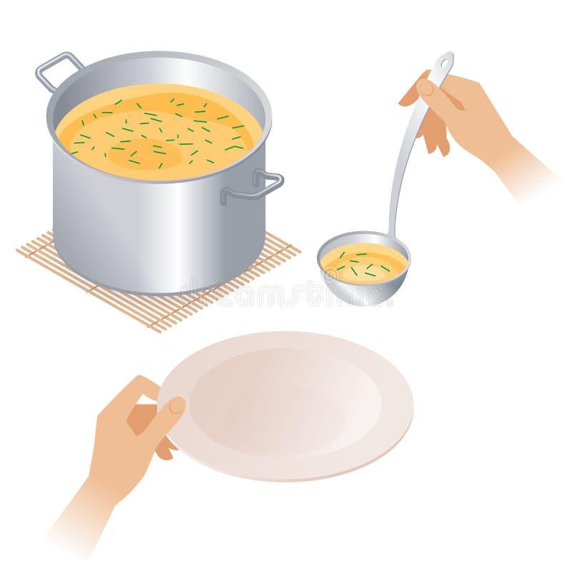 Flache isometrische Illustration des Topfes mit Suppe, Platte, Schöpflöffel vektor abbildung