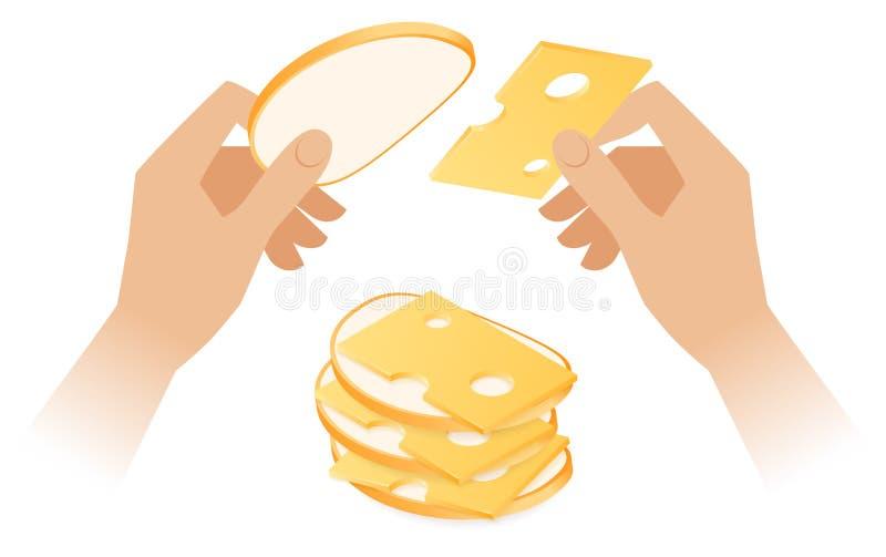 Flache isometrische Illustration von den Händen, die das Käsesandwich machen lizenzfreie abbildung
