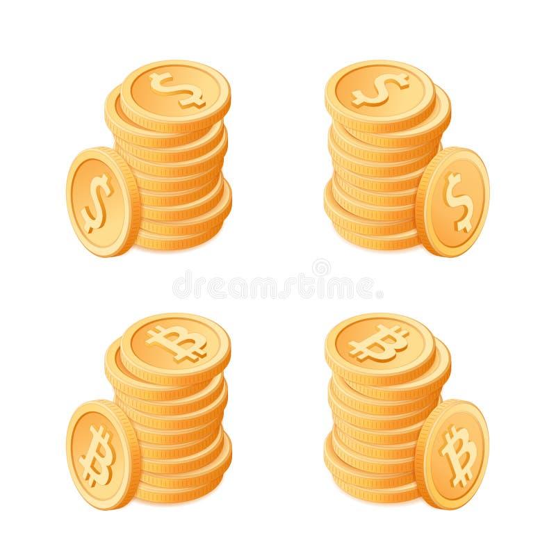 Flache isometrische Illustration von Stapel von Münzen: Dollar und bitco vektor abbildung