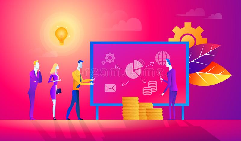 Flache junge erfolgreiche Geschäftsleute, die Berichts- oder Darstellungsvektorillustration machen Finanzunternehmensanalyse stock abbildung