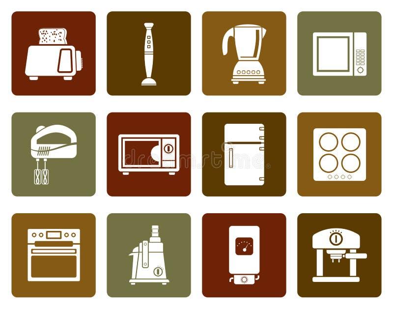 Flache Küchen- und Ausgangsausrüstungsikonen stock abbildung