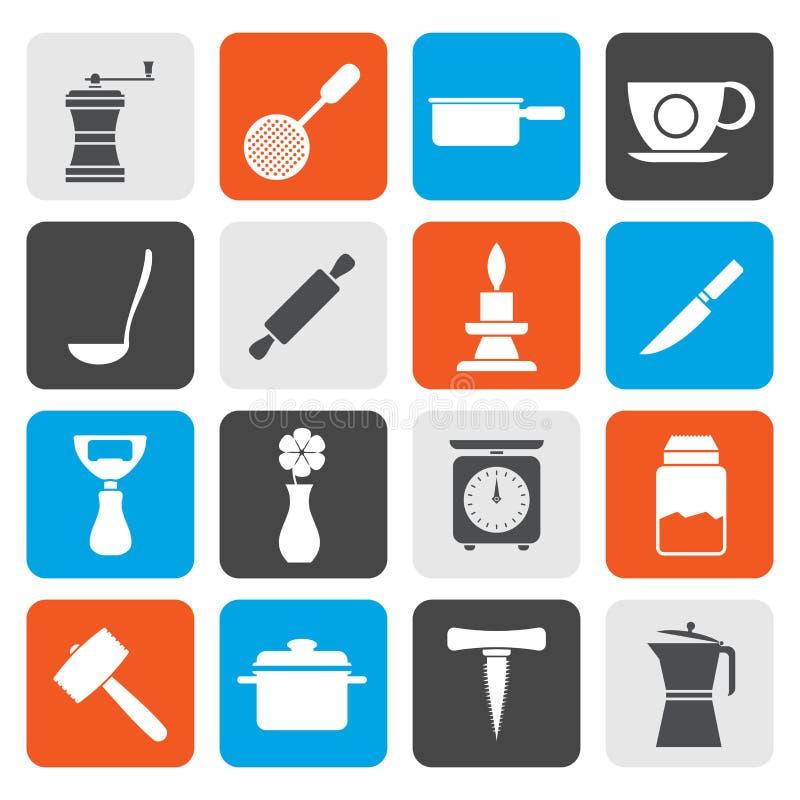 Flache Küchen- und Haushaltswerkzeugikonen stock abbildung