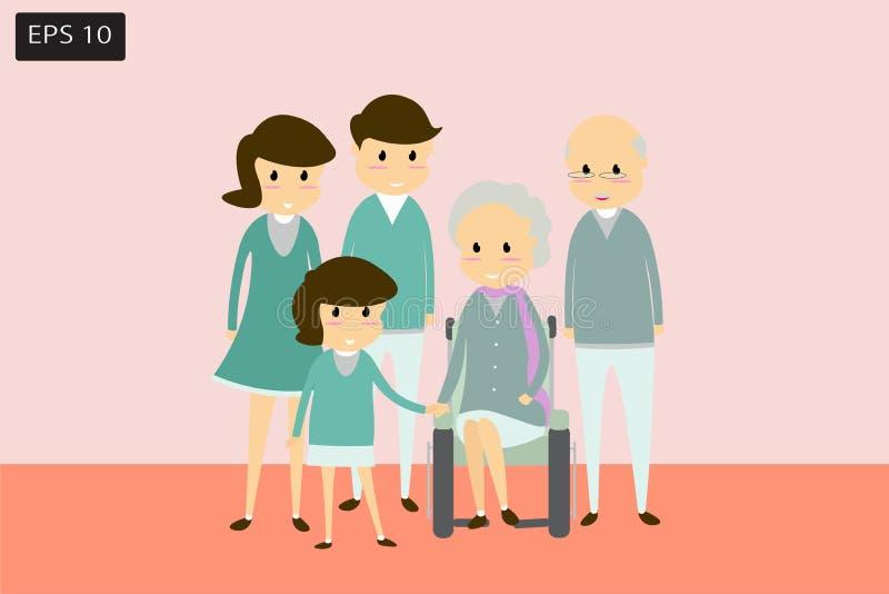 Flache Karikaturfamilie, -eltern, -kinder und -großeltern Glück und Wärme der positiven Richtung des Konzeptes stock abbildung