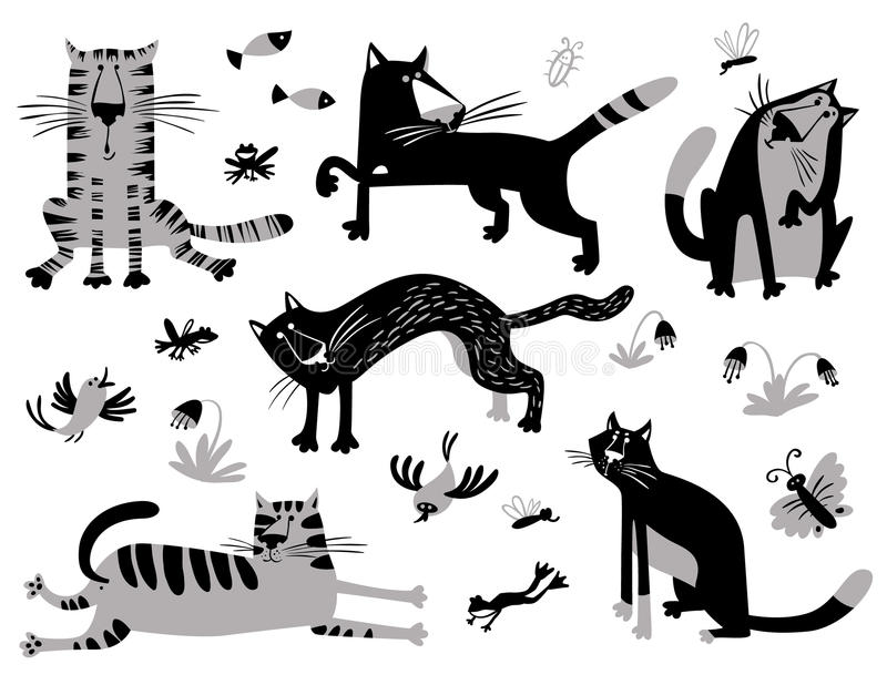 Flache Katzen eingestellt Vektorillustration im minimalistic St. der Kinder vektor abbildung